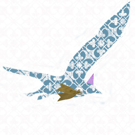 Picture of a collaged seagull wearing a hat and scarf which is used as the logo on my website